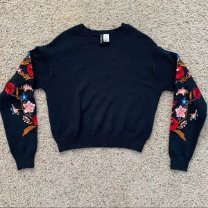h&m divided embroidered sweater